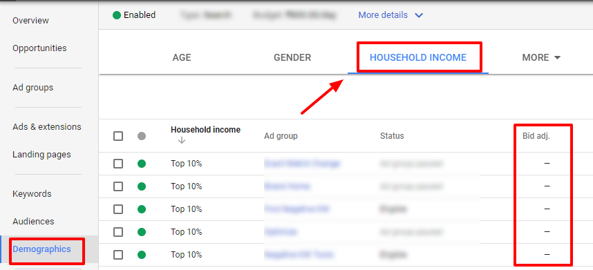 household income adwords demographics
