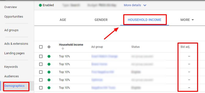household income adwords demographics