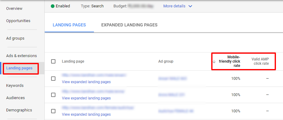 landing page performance - new adwords ui
