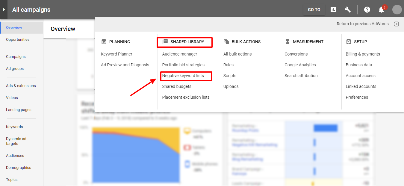 negative keywords list - adwords new ui
