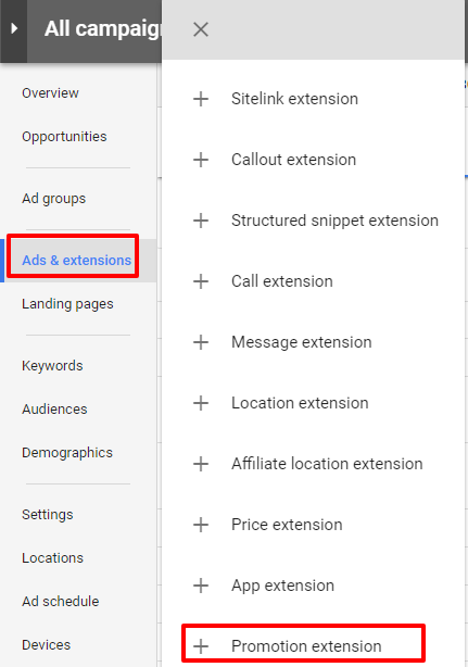 new adwords ui promotion extension