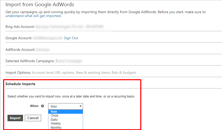 schedule import from adwords