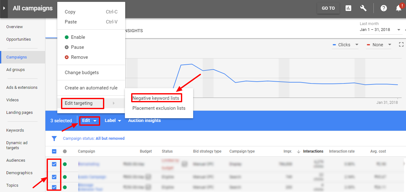 select campaign for negative keyword list - new adwords ui