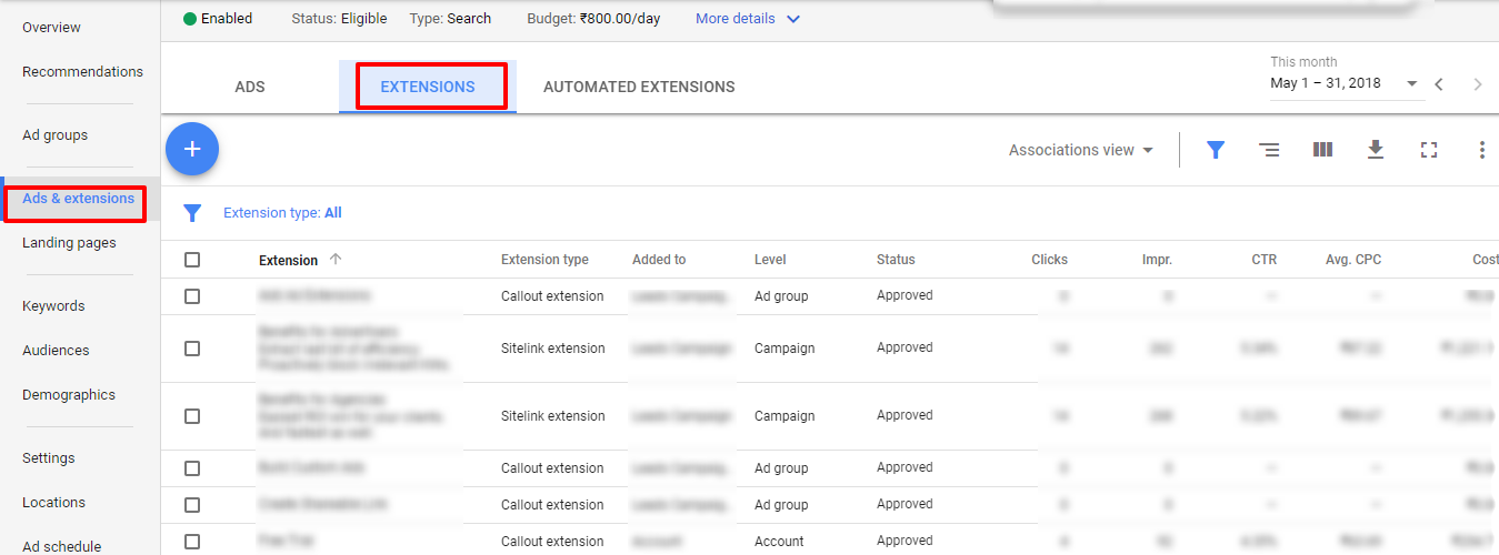 assess adwords ad extensions