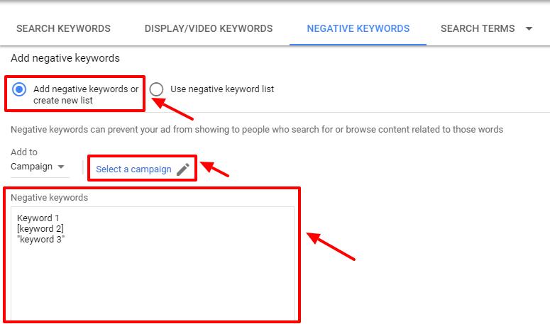 create new negative keywords list - adwords
