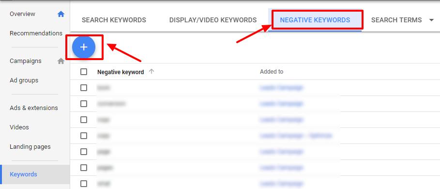 negative keywords-adwords new ui