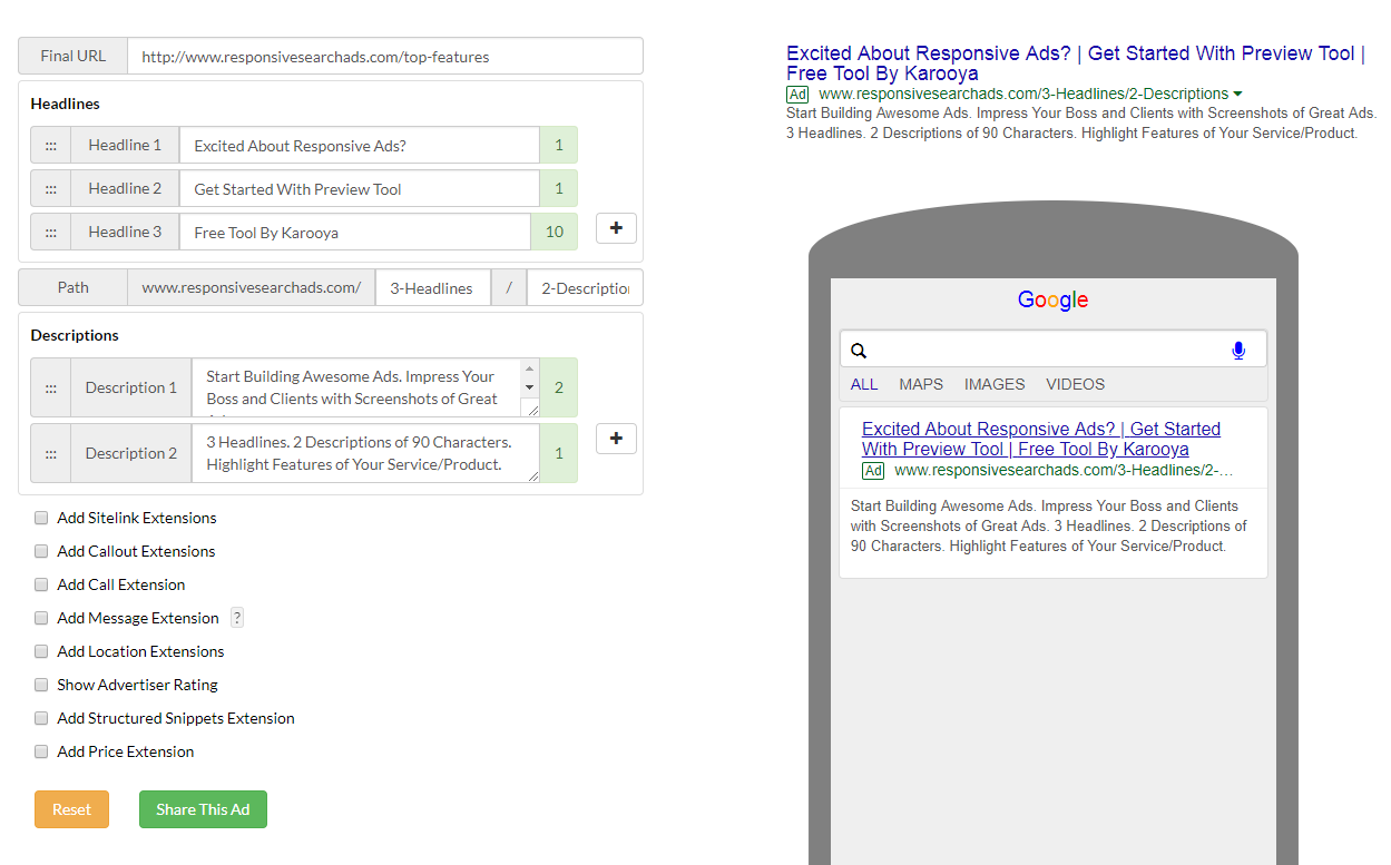 Responsive Search Ad Preview Tool Karooya