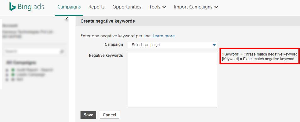 bing ads negative keyword match type