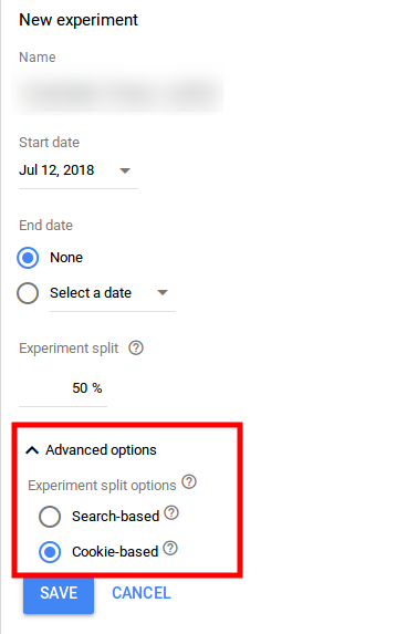 experiment split advanced options