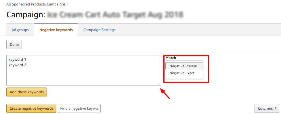 adding negative keywords amazon
