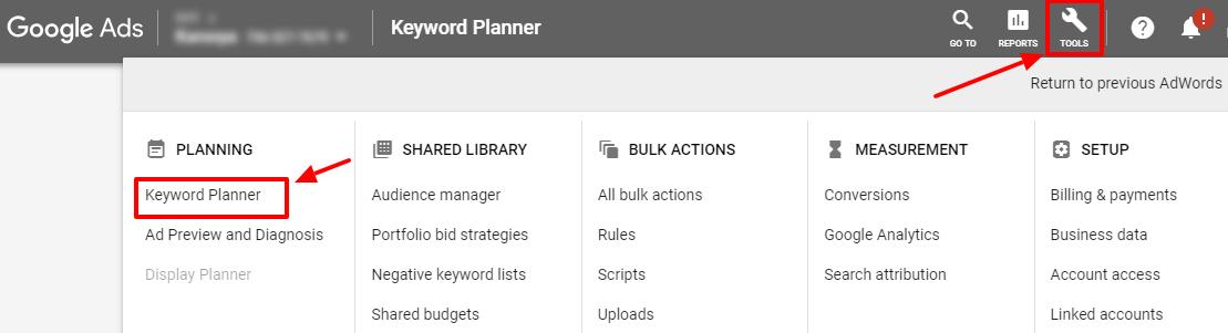 google ads tools keyword planner