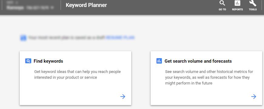 google keyword planner options