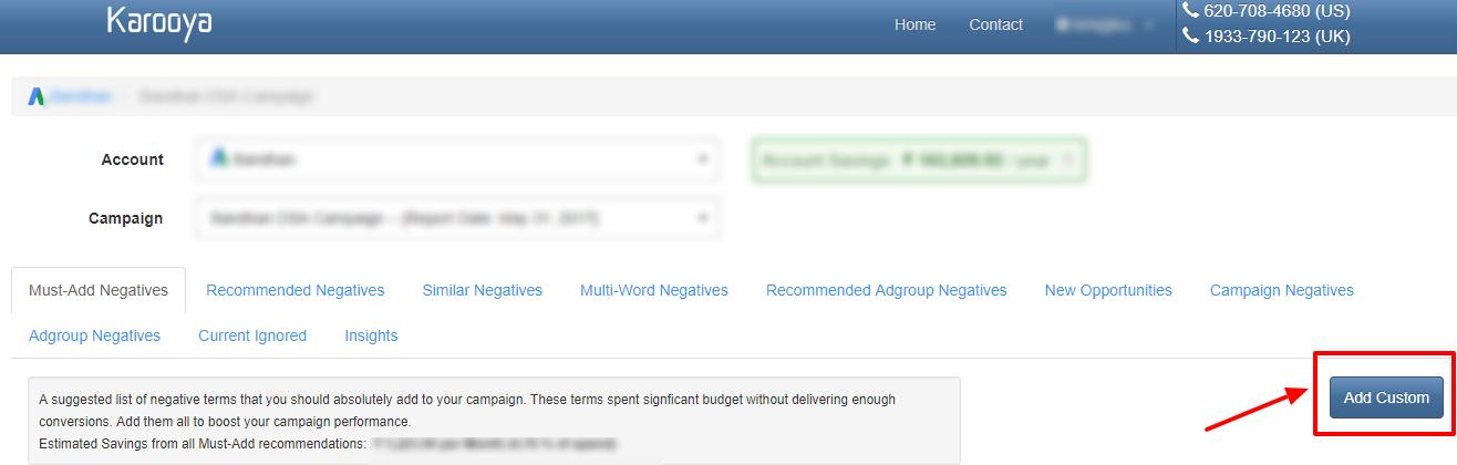 add custom karooya negative kw tool