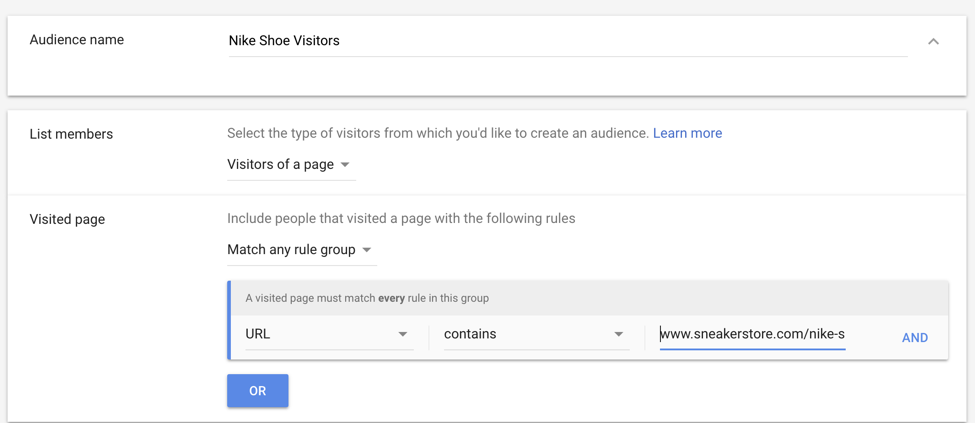 google ads retargeting audience