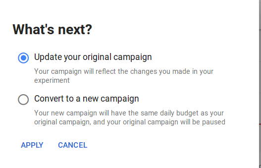 update original campaign google ads