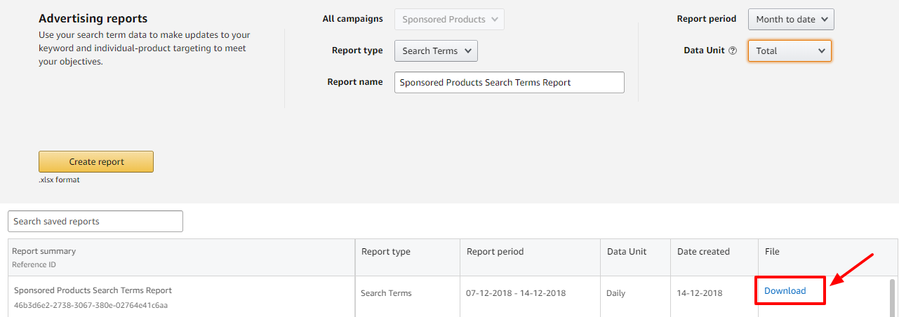 download search terms report amazon ads