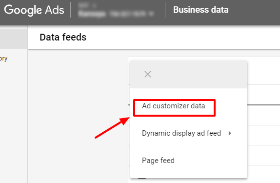 add ad customizer data