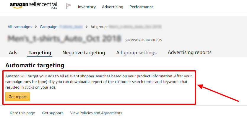 old amazon ads ad group automatic targeting