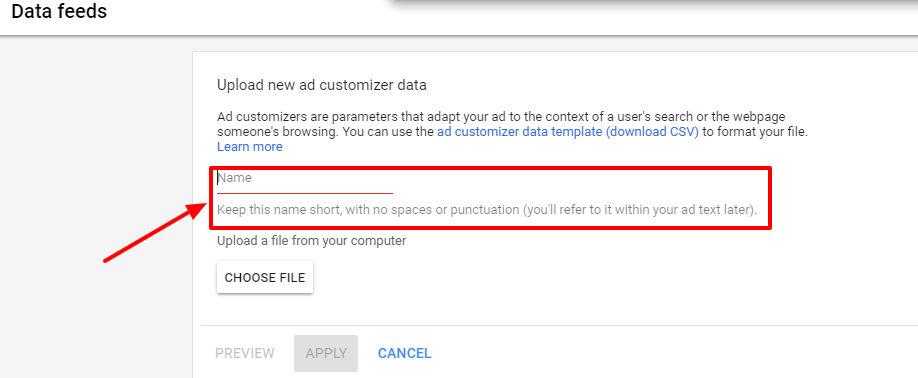 upload ad customizer data