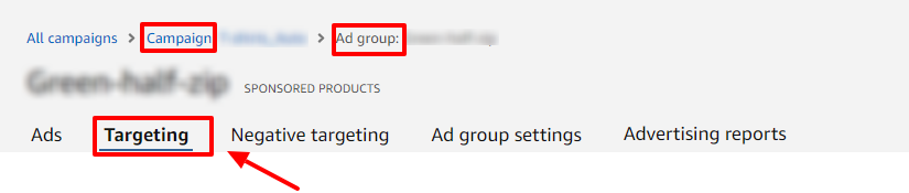 view auto targeting defaults in amazon ads
