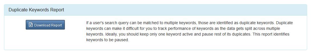 generate duplicate keywords report