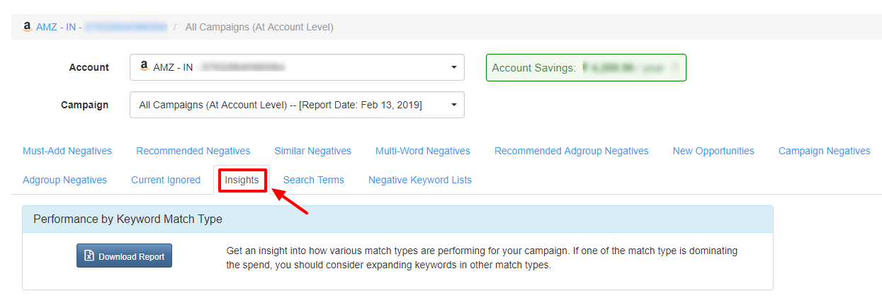 insight tab - karooya negative keyword dashboard