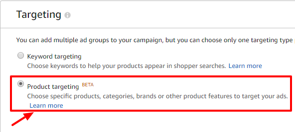 selecting targeting type of ad group