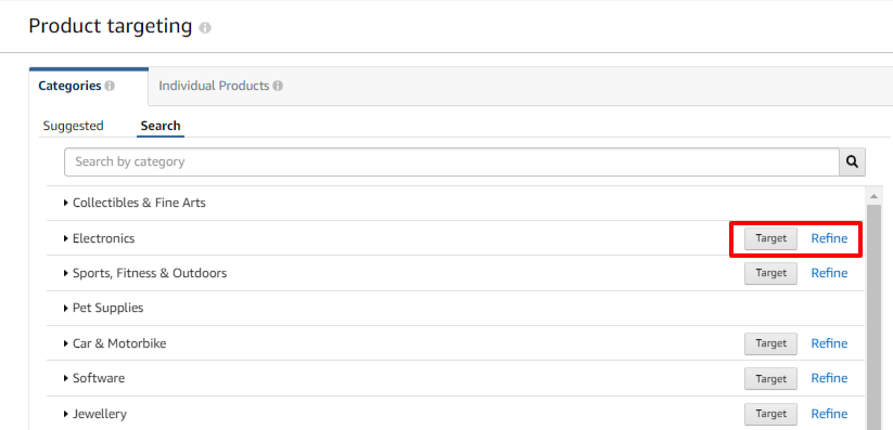 targeting product categories