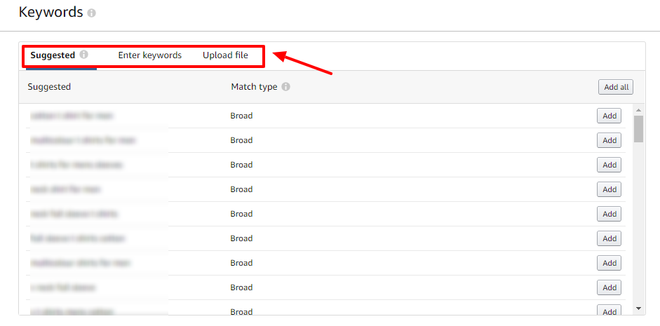 add new keywords in amazon ads