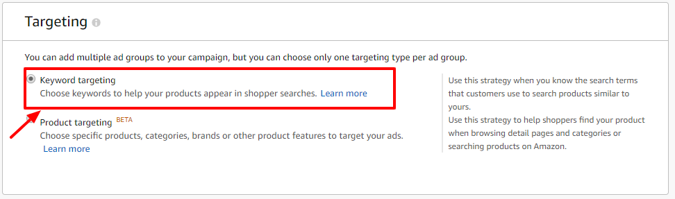 keyword targeting amazon ads
