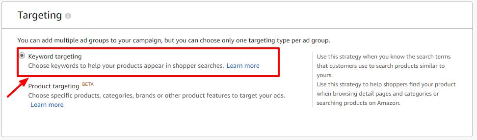 keyword targeting amazon ads