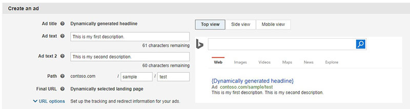 Expanded format for dynamic Search Ads