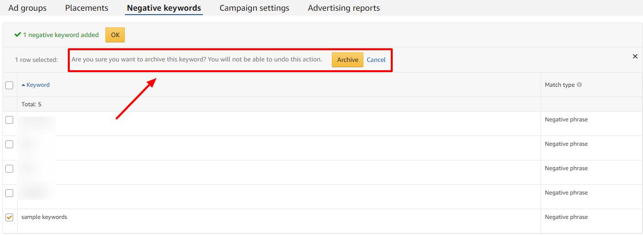 confirm archive negative keywords amazon ads