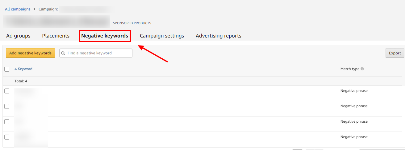 negative keywords tab amazon ads