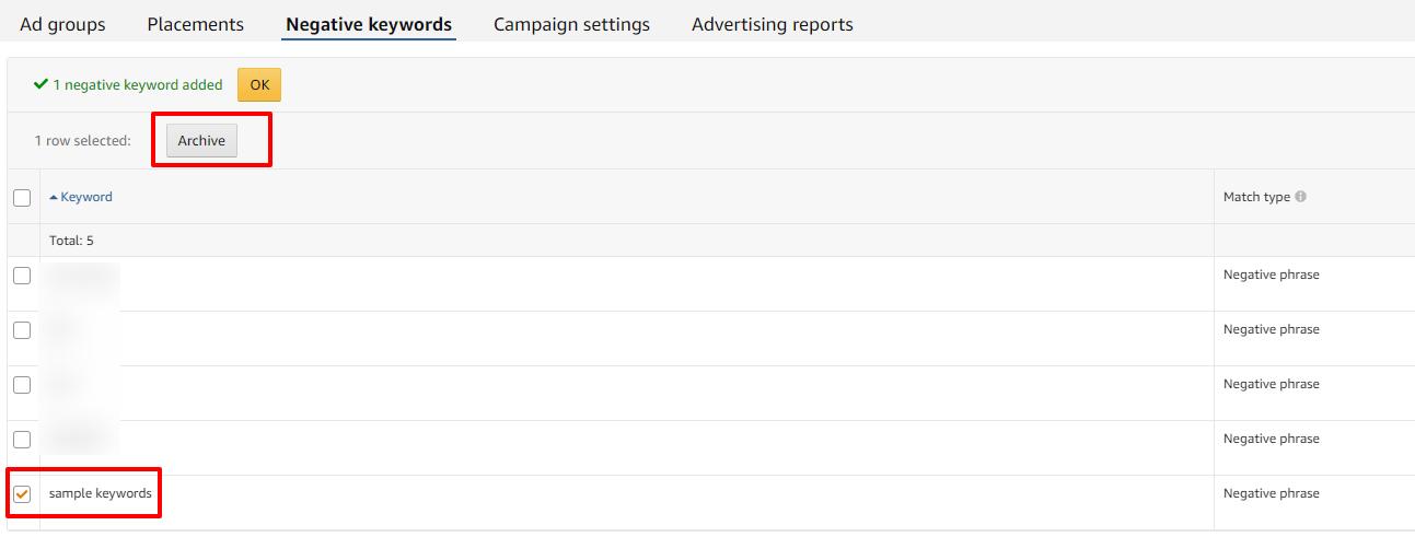 select negative keyword amazon ads