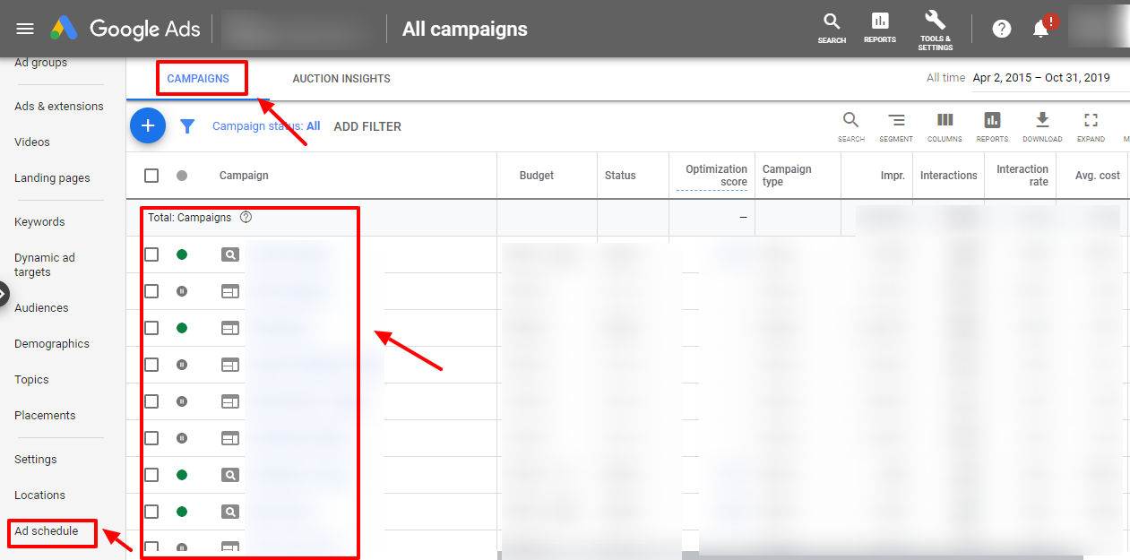 google ads user interface ad schedule