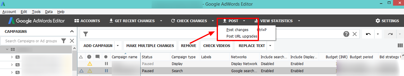 post changes google adwords editor