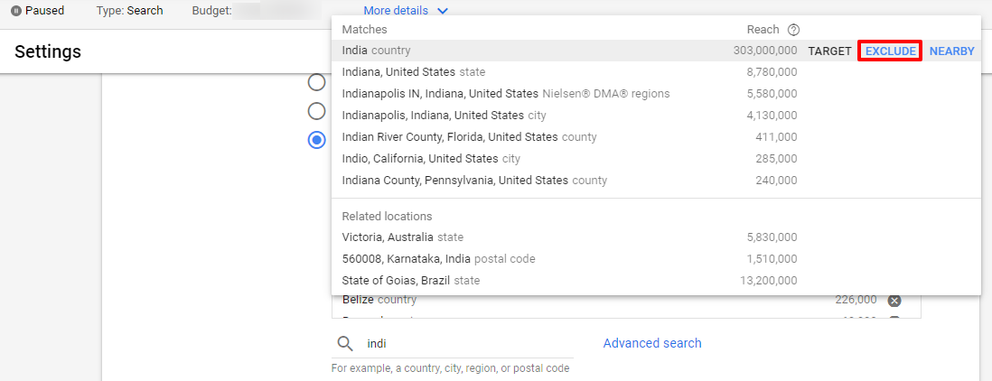 exclude location google ads