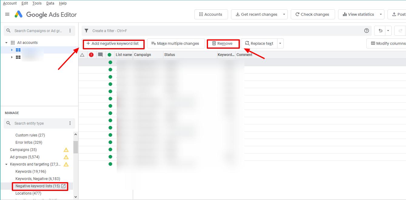 google ads editor associate negative keyword lists