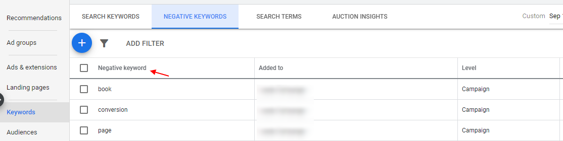 Google ads negative keywords.