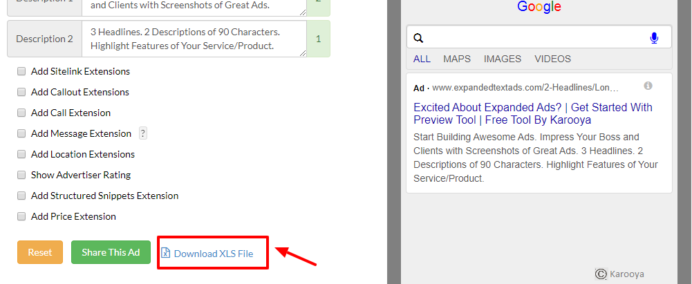 Download the ad copy from ETA preview tool