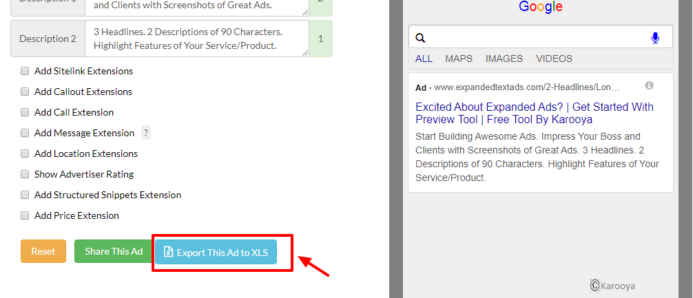 Export the ad copy from ETA preview tool