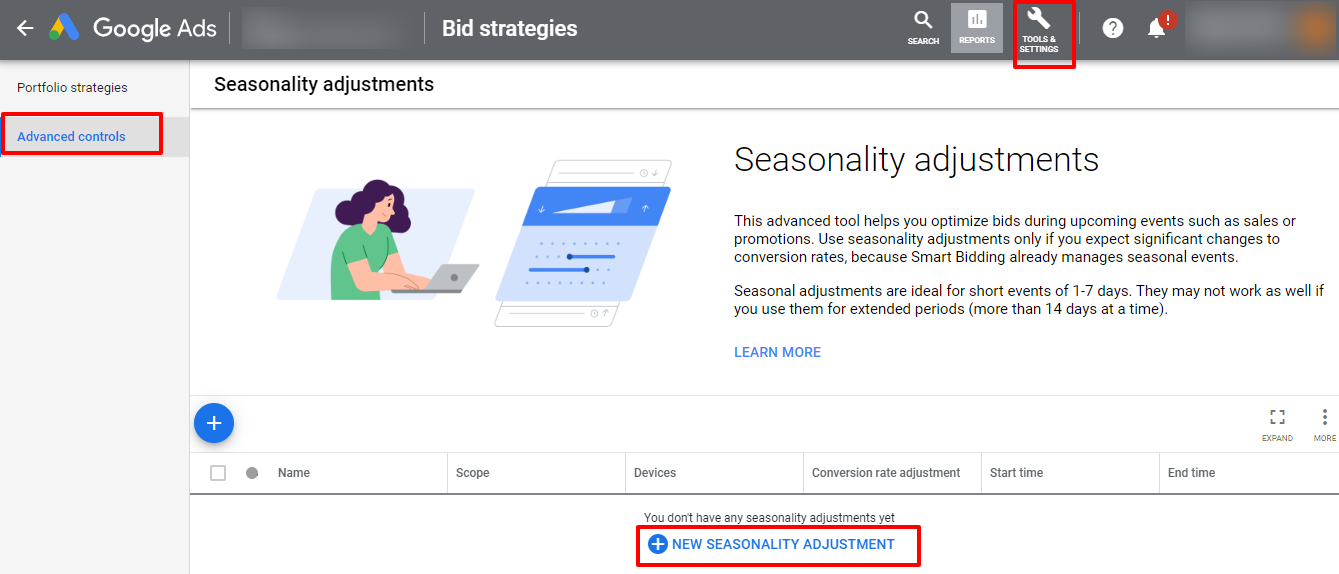 seasonality adjustment google ads