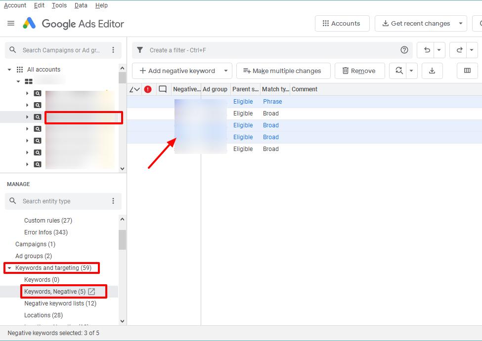 copy negative keywords google ads editor
