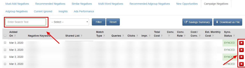 delete negative keywords karooya dashboard