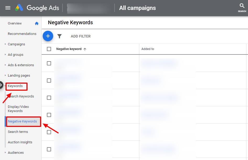 find negative keywords google ads