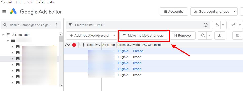 make changes google ads editor