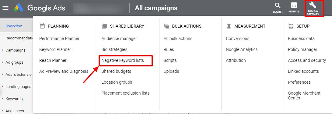 negative keyword lists google ads