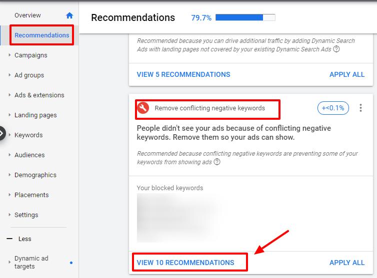 remove conflicting negative keywords