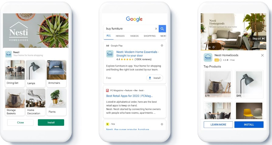 Feed In App Campaign Feature in Google